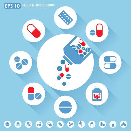 bottle of medicine: Medicine icon set in light blue   red colors