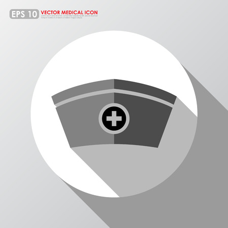 Nurse hat in white   gray colors - medical vector icon Vector