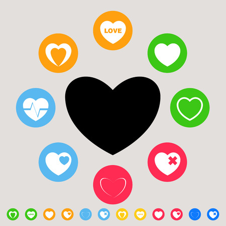 Hearts - colorful vector icon set Vector