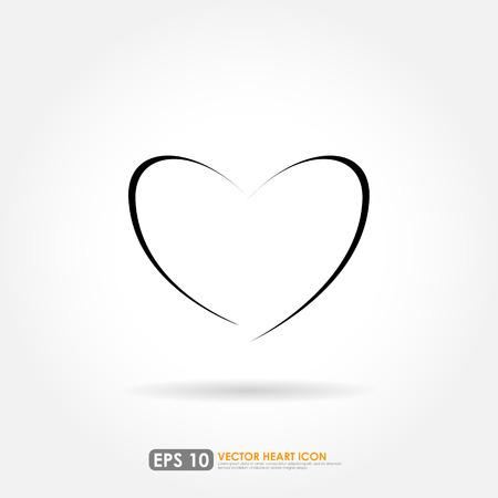 heart outline: Modern heart shape outline - vector icon Illustration