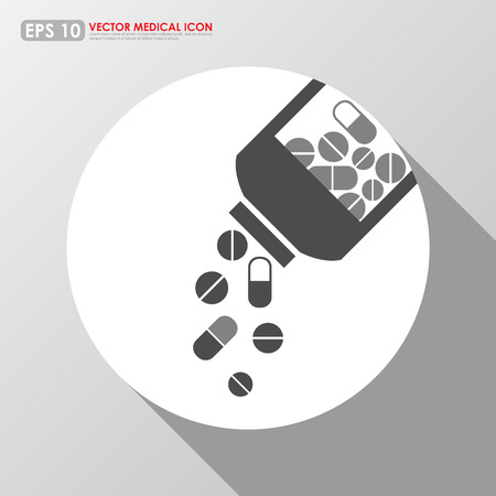 Medicines pouring out of the bottle - medical vector icon Vector