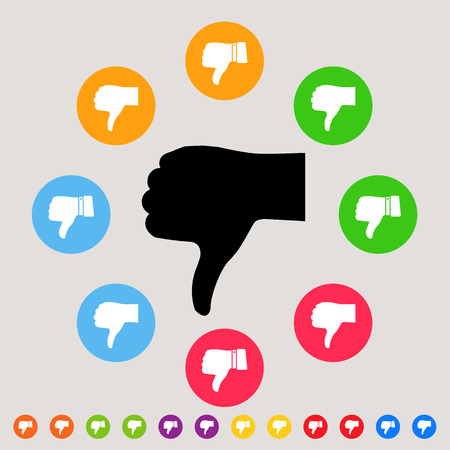 disapprove: Thumbs down - colorful vector icon set - bad & dislike concept