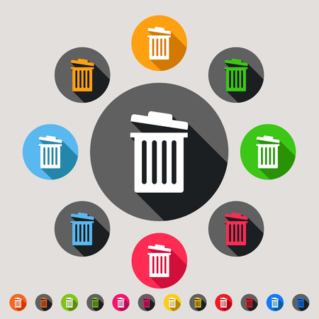 garbage can: Trash bins - colorful vector icon set Illustration
