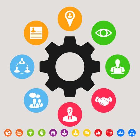 recruter: Colorful vecteur d'affaires ic�ne ensemble