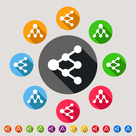 increasingly: Condividi o icone di collegamento - colorful vector icon set - possono essere utilizzati come segni di rete o diagrammi ad albero