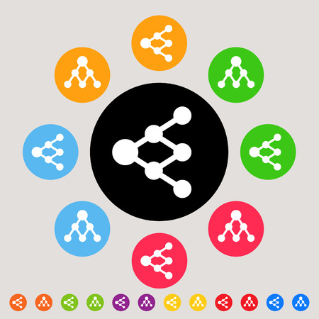 increasingly: Share or link icons - colorful vector icon set - can be used as network signs or tree diagrams Illustration