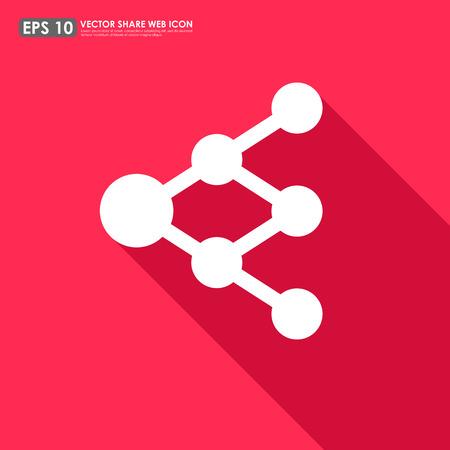diagrama de arbol: Compartir o enlazar icono sobre fondo rojo - se puede utilizar como se�al de red o diagrama de �rbol
