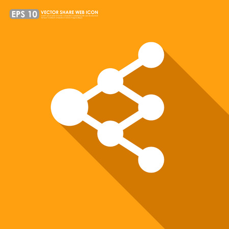 accrue: Share or link icon on orange background - can be used as network sign or tree diagram