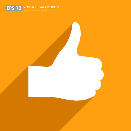 cheer up: Thumbs up on orange colorful background - vector icon