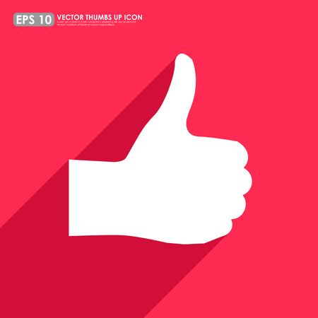 cheer up: Thumbs up on colorful red background - vector icon