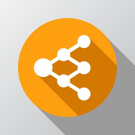 multiplicar: Compartir o icono de enlace en el círculo - se puede utilizar como señal de red o diagrama de árbol