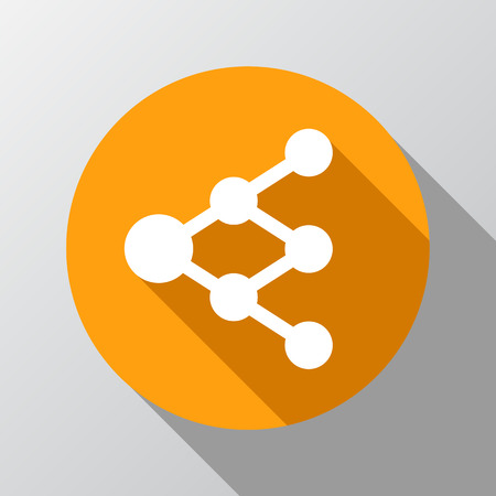 multiply: Share or link icon in circle - can be used as network sign or tree diagram
