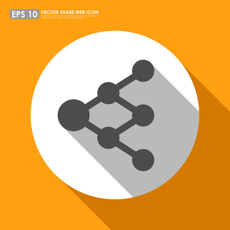 Share or link icon in circle - can be used as network sign or tree diagram Vector