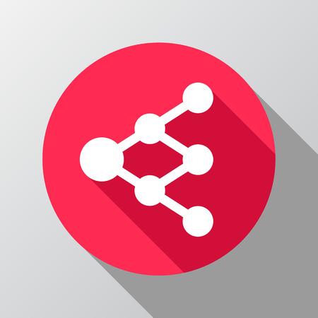 diagrama de arbol: Compartir o icono de enlace en el c�rculo - se puede utilizar como se�al de red o diagrama de �rbol
