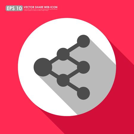 increasingly: Condividi o collegamento icona nel cerchio - pu� essere utilizzato come segno di rete o diagramma ad albero