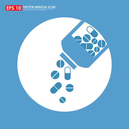 Medicines pouring out of the bottle - vector icon - blue theme Vector