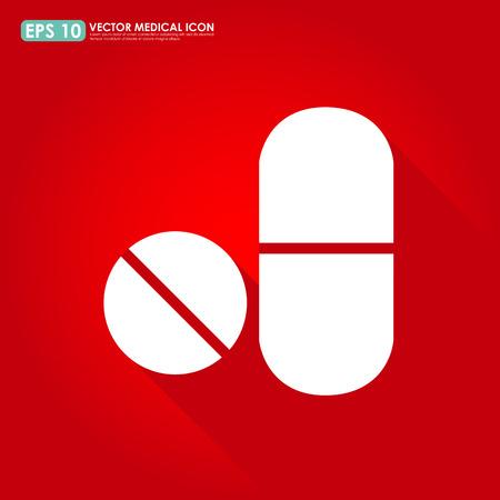 pilule: Vector icon médico - Medicamentos - píldora de la cápsula en el fondo rojo