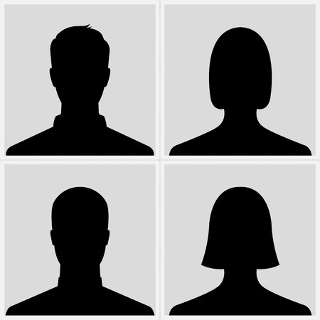 internet profile: Set of male   female silhouette avatar profile pictures Illustration