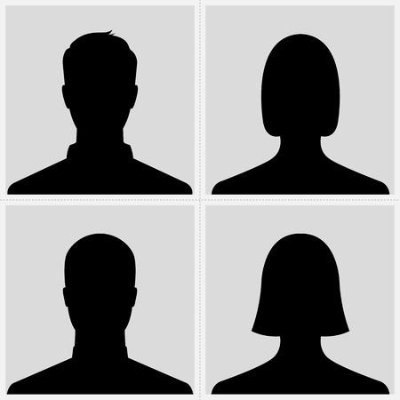profile picture: Set of male   female silhouette avatar profile pictures Illustration