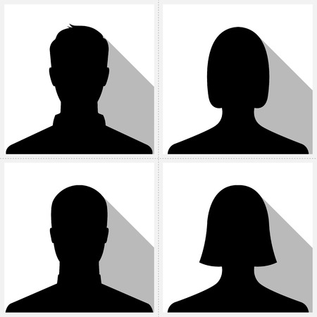 male and female: Set of male   female silhouette avatar profile pictures Illustration