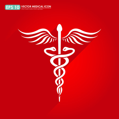 asclepius: Caduceus sign - medical icon Illustration