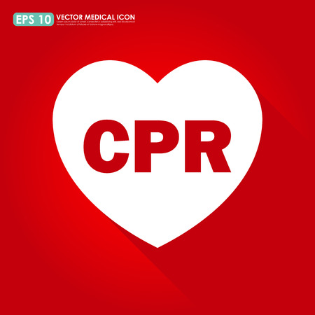 cpr: Heart shape with CPR sign on red background
