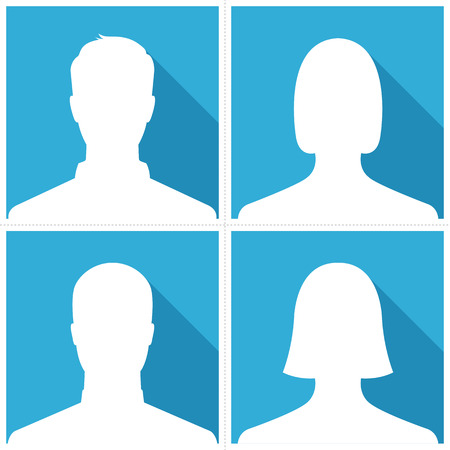 Set of male & female silhouette avatar profile pictures on blue background Çizim