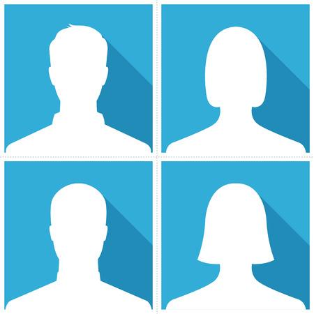 Set van mannelijke en vrouwelijke silhouet avatar profielfoto's op blauwe achtergrond Stock Illustratie