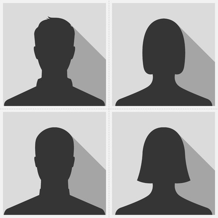 Set of male & female silhouette avatar profile pictures