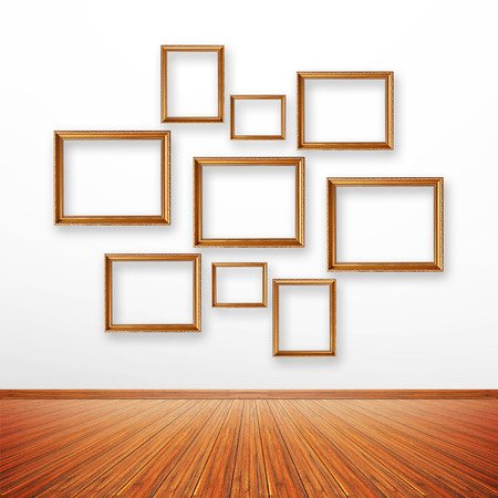 gallery interior: Set of picture frames on the wall inside the room