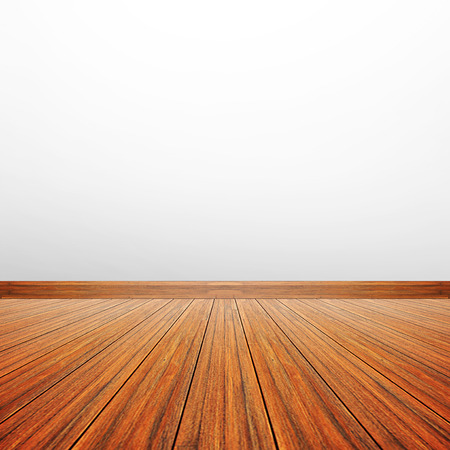empty room background: Wooden floor & white gray wall as empty room background Stock Photo