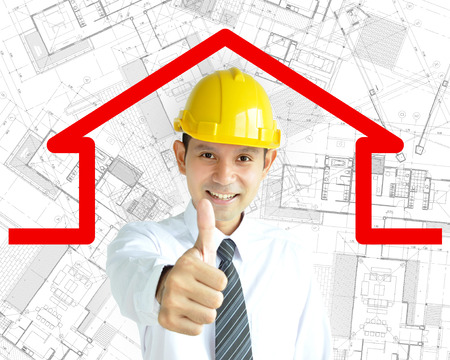 asian architect: Smiling Asian architect (or engineer ) with yellow hard hat giving thumbs up on architectural sketch background