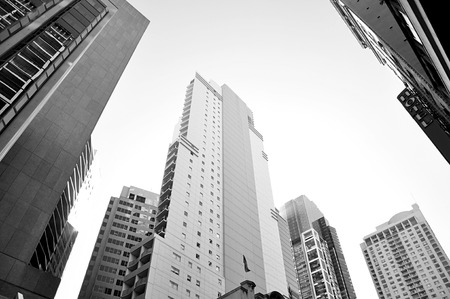 high rise: Group of high rise buildings in downtown or CBD - looking  up angle