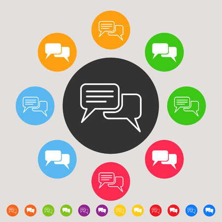 Speech or comment bubbles - colorful vector icon set Vector