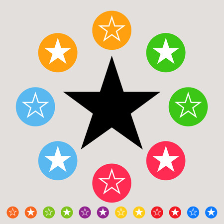favorite: Stars - colorful vector icon set