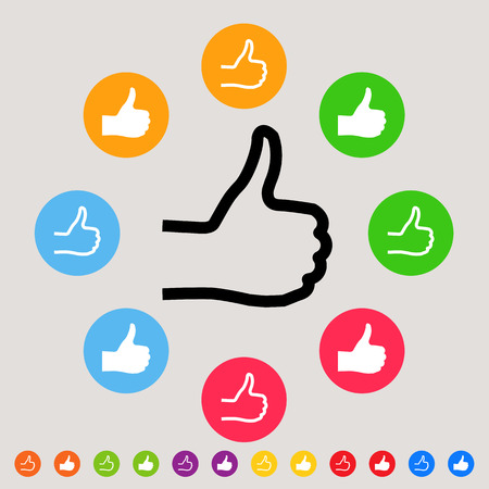great job: Thumbs up - colorful vector icon set