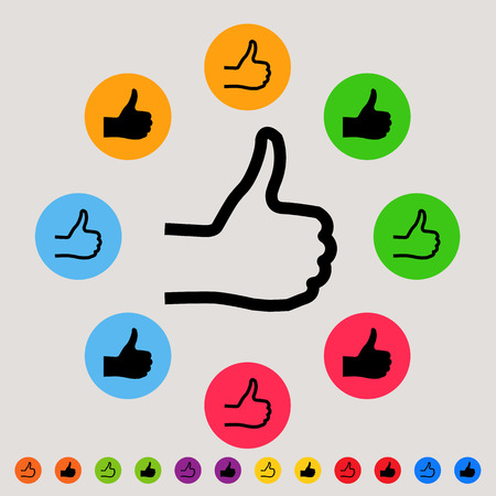 sign ok: Thumbs up - colorful vector icon set