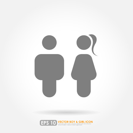 man and woman sex: Boy   girl icons in gray color
