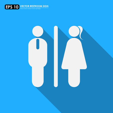 Toilet Icon Male Female Symbols On Blue Background Royalty Free