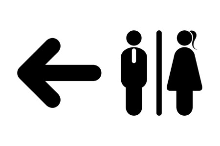 Toilet Icon Male Female Symbols With Arrow Sign On White