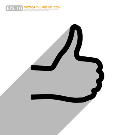 good cheer: Thumbs up outline on white background - vector icon Illustration