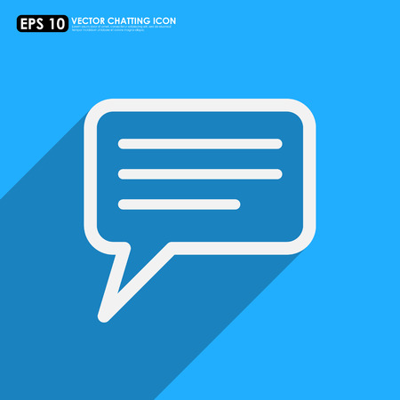 comment: Speech or comment bubble on blue background - vector icon Illustration