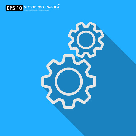 ingenieria industrial: Gear o conjunto de piñones esbozo sobre fondo azul - vector icon