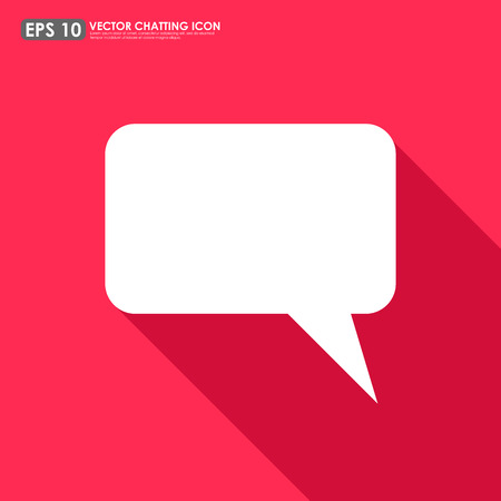 Speech or comment bubble on red background - vector icon