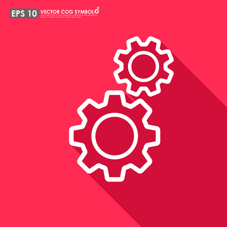 Gear or cog set outline on red background - vector icon Vector