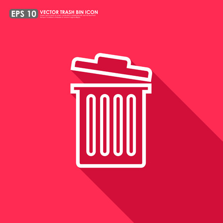 Trash can outline on red background - can be used as delete icon Vector