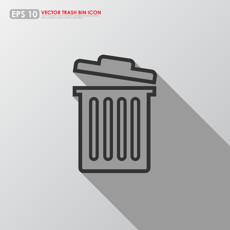 Trash can outline on gray background - can be used as delete icon Vector