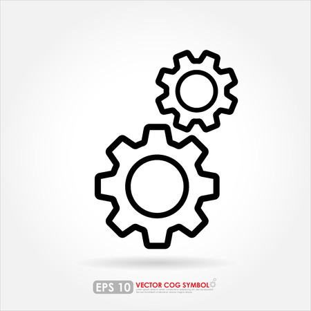 cogwheels: Gear or cog set outline on white background - vector icon