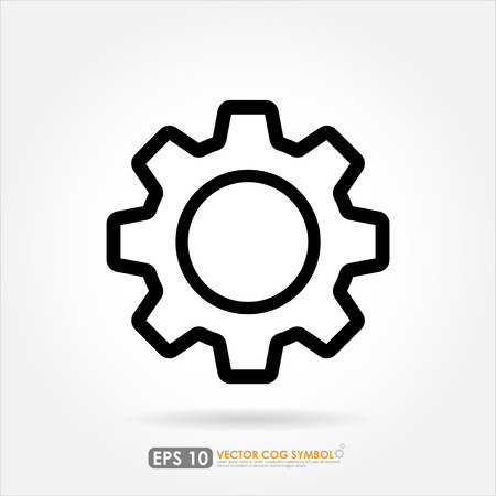 Gear or cog outline icon on white background Vector