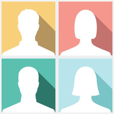 ビンテージのカラフルな背景の男性 & 女性のシルエット アバター プロフィール写真